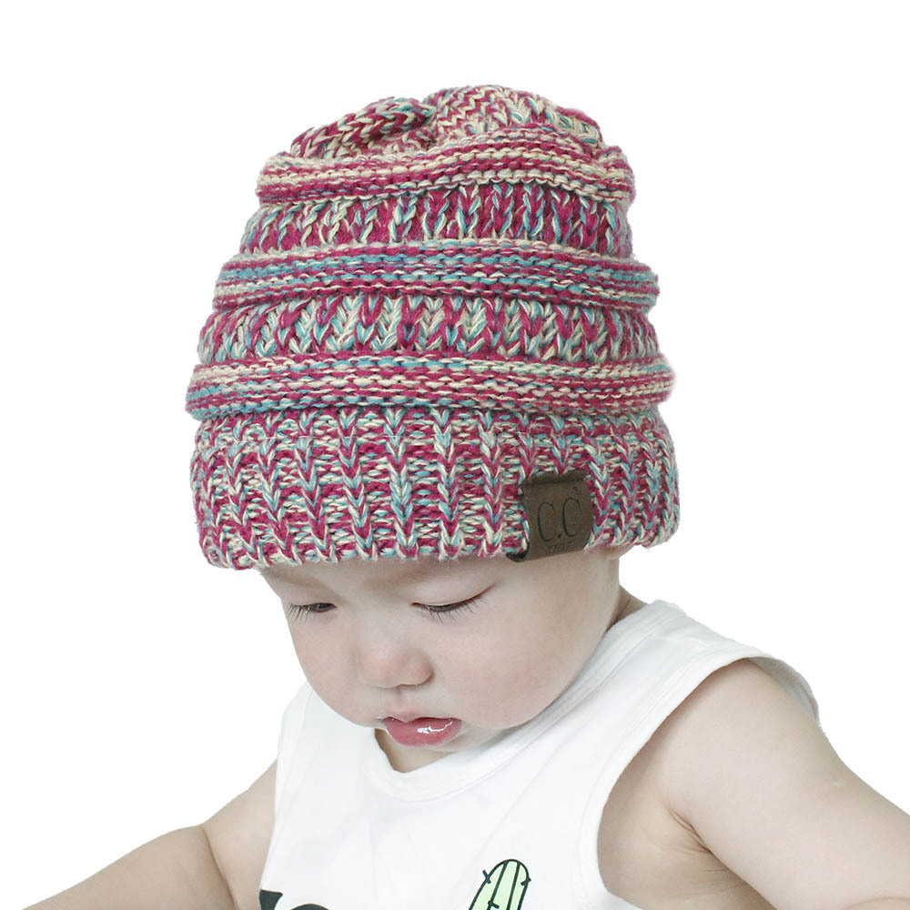 2018 baby CC Mixed Winter knitting Hat For Children Warm Cap Girls Slouchy  Beanie Caps Boys Cute Knitted Hats Casual Cap-in Hats   Caps from Mother    Kids ... a7d02276ec56