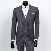 Conjuntos de jaqueta + calça + colete/'s men business casual 3 peças naipes/'s homens de dois botões terno blazers casaco + calça + colete