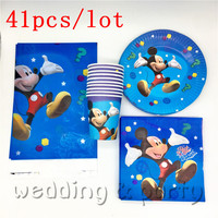 41 шт. набор для вечеринки Микки Маус мультяшная Вечеринка одноразовая бумажная посуда салфетки для детская вечеринка на день рождения укра...