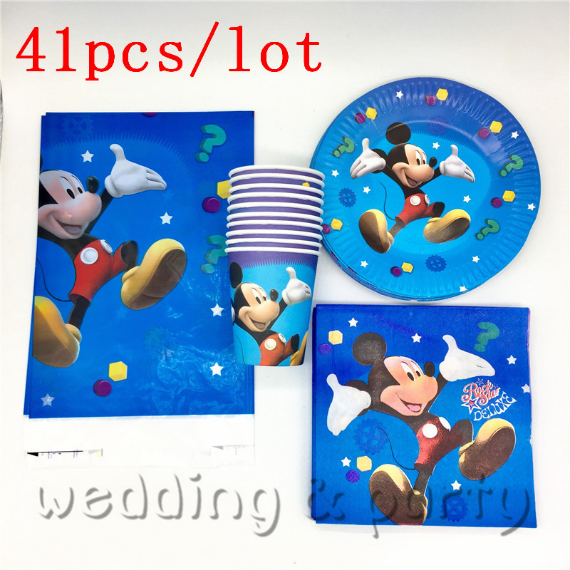 41PCS Party Set Mickey Mouse Cartoon theme party Tableware Paper Plate Napkins For Kid Birthday Party Supplies Decoration41PCS Party Set Mickey Mouse Cartoon theme party Tableware Paper Plate Napkins For Kid Birthday Party Supplies Decoration