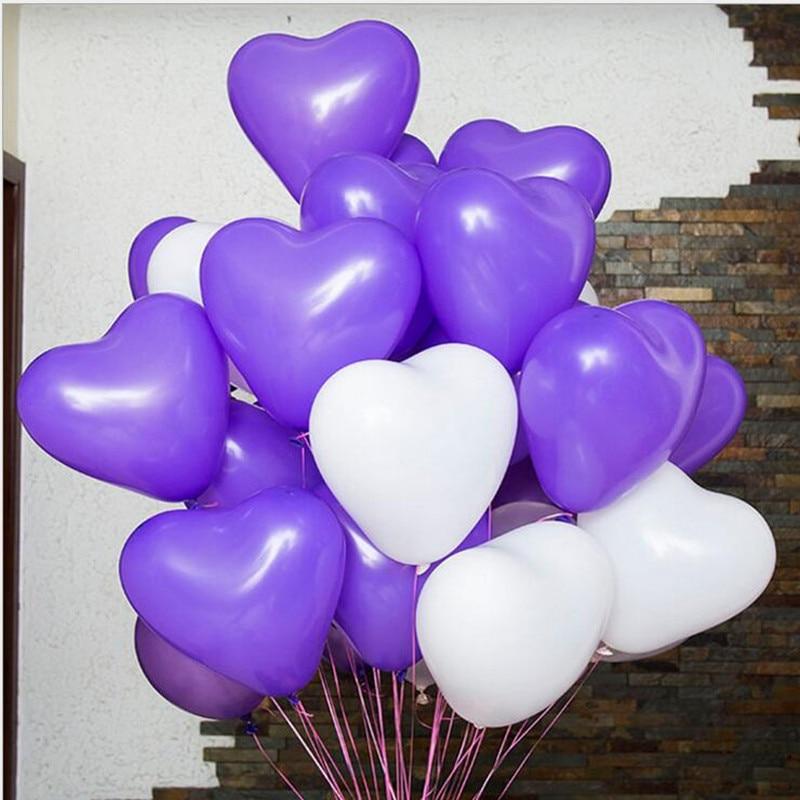 Aliexpress Buy Purple White Heart Ballon 100piecelot 12inch