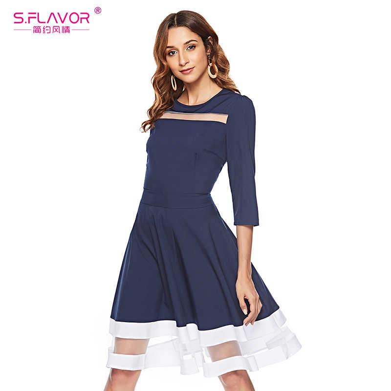 S.FLAVOR классическое платье трапециевидной формы в стиле пэтчворк, Осень-зима 2019, модное приталенное платье с круглым вырезом и рукавом 3/4, сексуальное платье с вырезами