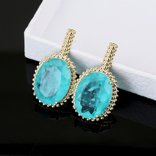 Large Fusion Stone Earrings Classical Elegant Jewelry AAA Zircon Fashion Tourmaline Stud XIUMEIYIZU Brand