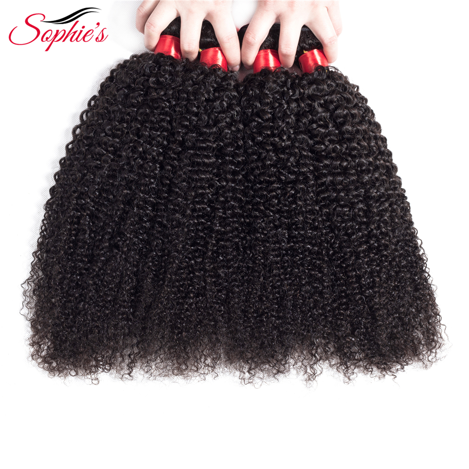 Sophie s Hair Peruvian Kinky Curly Hair 4 Bundles Human 100 Non Remy Hair Weaves Natural