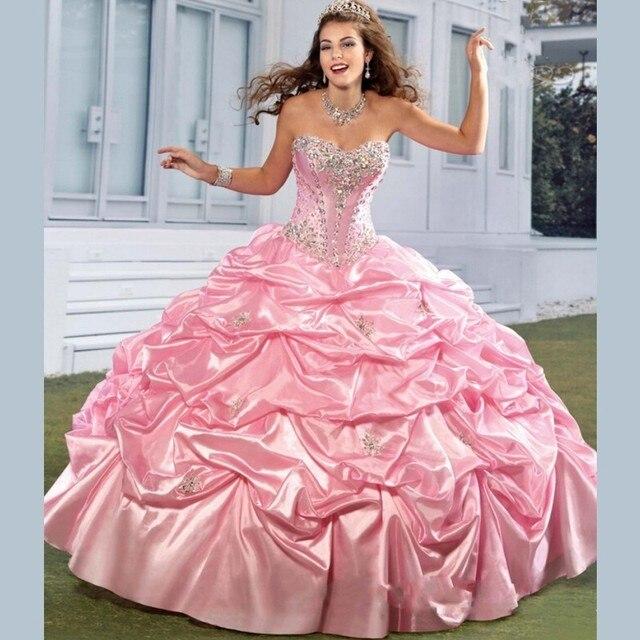ca4d4b9a7 Elegant Pink Puffy Quinceanera Dresses Sweetheart Beading Sleeveless Trajes  de Quinceaneras 2016 New Lace up Vestidos Debutantes