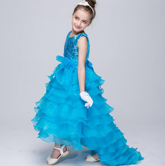 2017 HOT Girl Dresses Children dress Girl hookless sleeveless dress Princess Bridesmaid Wedding Birthday Party Dress #082T ...