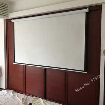 HD Widescreen 100inch Diagonal 16x9 Pull Down Projection Manual 3D Projector Screen With Auto Self-Lock Suit For Cinema Office