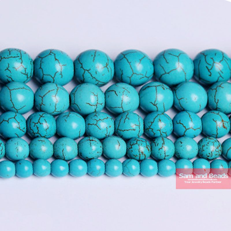 "Free Shipping Smooth Natural Stone Blue Turquoises Round Loose Beads 15"" Strand 4 6 8 10 12 MM Pick Size For Jewelry Making BTB2(China)"
