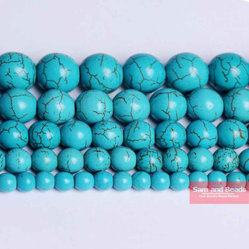 "Free Shipping Smooth Natural Stone Blue Turquoises Round Loose Beads 15"" Strand 4 6 8 10 12 MM Pick Size For Jewelry Making BTB2"