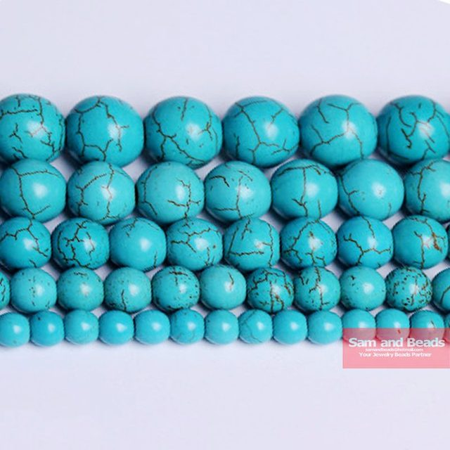 Free Shipping Smooth Natural Stone Blue Turquoises Round Loose Beads 15″ Strand 4 6 8 10 12 MM Pick Size For Jewelry Making BTB2