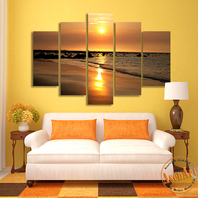 Beautiful Golden Sunset Painting 5pcs Seaside Landscape Canvas ...