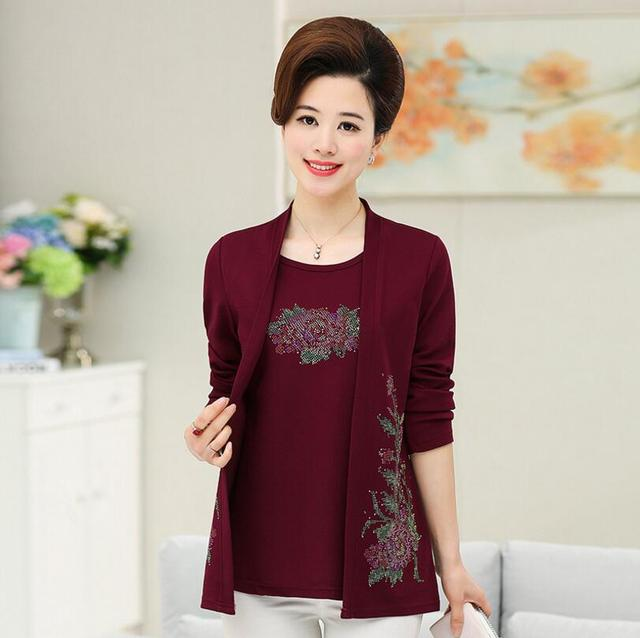 61b938ffc28 Middle Aged Women printing Fake 2 Piece Blouses Faux Twinset Tops Women s  Elegant Plus Size shirt women Long Sleeve p297
