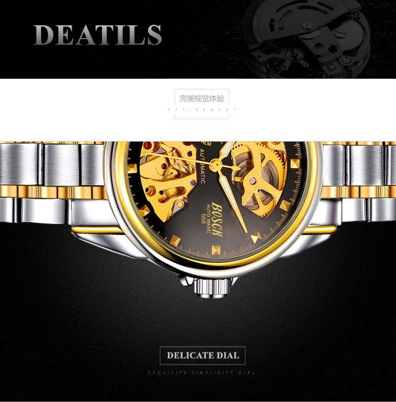 HTB1gBUUbgaH3KVjSZFjq6AFWpXaz Men's Watches Automatic Mechanical Gold Watch Male Skeleton Dial Waterproof Stainless Steel Band Bosck Sports Watches Self Wind