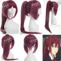 Top Quality ! Free! Iwatobi Swim Club Gou Matsuoka Long Wine Red Women Girl Cosplay Wig Synthetic Hair Wigs