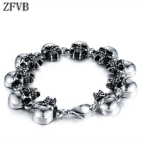 ZFVB Punk Skull Link Chain Bracelets for Men Superior quality 316L Stainless Steel Hiphop Rock Rock Bracelet Halloween Jewelry