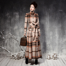 High Quality 2016 Winter New Fashion England Wind Plaid Female Overcoat S-XXXXL Plus Size Single Breasted Long Wool Jacket Coats