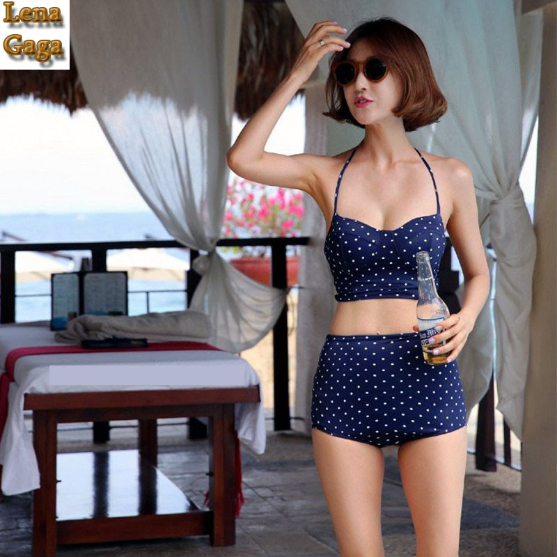 Lena Gaga Halter Top Bikini Set Swimwear Female High Waist Bottom Swimwear Women Push Up Swimsuit Pad Bath Suit Swim Beachwear sunny fashion flower girls dress blush belted wedding party bridesmaid 2017 summer princess dresses kids clothes size 4 12