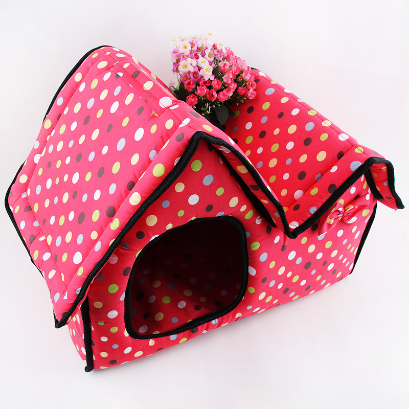 Pet Dog house cama Esteras Doble Superior Bungalow Plegable nido mascota Perro S