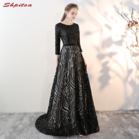 Black Mother of the Bride Dresses with Long Sleeves A Line Evening Groom Godmother Dresses
