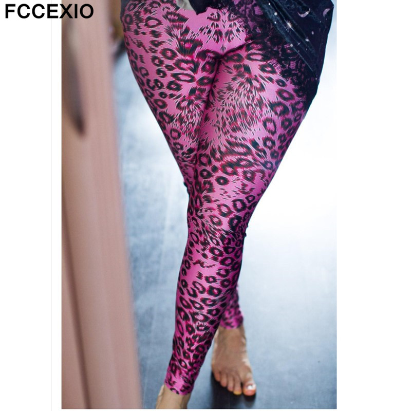 e156f9c043008 FCCEXIO New Girl's Sexy Cute Pink Leopard Leggings 3d Printed Legging  Women's Fashion Leggings Fitness Pants Stretch Jeggings -in Leggings from  Women's ...