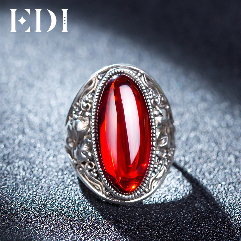 EDI Retro Vintage 925 Real Sterling Silver Ring With Female Red Garnet Blue Boule Corundum For Women Fashion Ring Finger Jewelry