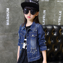 цены Fashion Girls Denim Jackets 2019 Fashion Child Jean Jacket Children Clothing Spring Autumn Girls Jacket Coat Tops Star Pattern