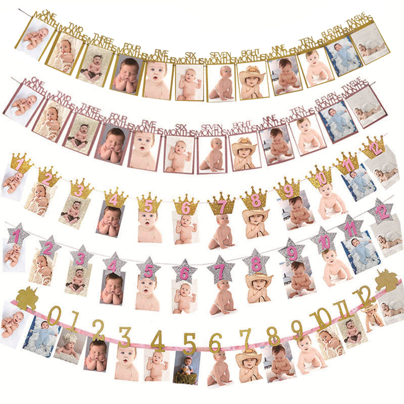 12 месяцы фоторамка баннер первый День рождения украшения 1st Baby Shower для мальчиков и девочек 1 годик Скрап вечерние поставки