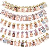 12 marco de fotos de meses Banner decoración para fiesta de primer cumpleaños 1er Baby Shower niño niña 1 año de edad Scrapbook suministros de fiesta
