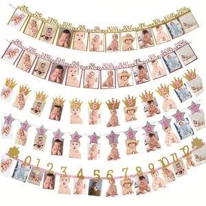 Image 1 - 12 наклеек, баннер, украшение для первого дня рождения, Скрапбукинг для девочек и мальчиков 1 год