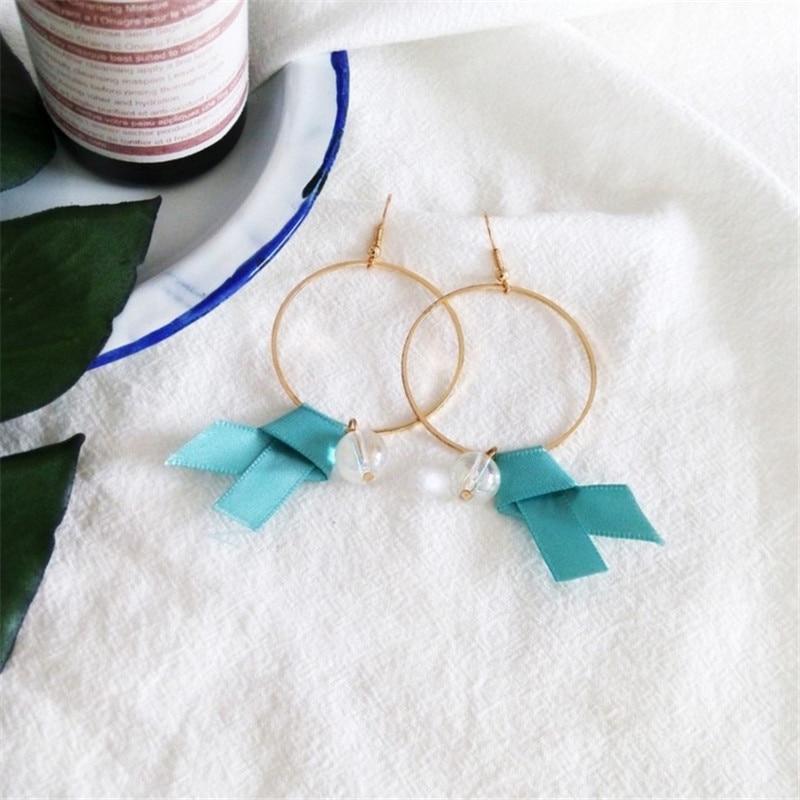 Large Circle Round Earrings Retro Crystal Bead Pendant Earrings No Ear Hole Korea Simple Exagger Jewelery Women