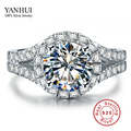 YANHUI Real 925 Sterling Silver Ring With S925 Stamp 3 Carat CZ Diamond Wedding Rings For Women Ring Size 4 5 6 7 8 9 10 YR001