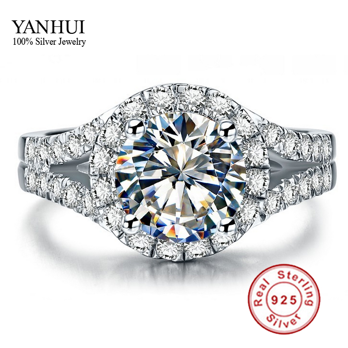 yanhui real 925 sterling silver ring with s925 stamp 3 carat cz diamant wedding rings for women ring size 4 5 6 7 8 9 10 yr001 - Cheap Real Wedding Rings