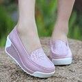 Verão 2016 das mulheres sapatos de couro genuíno respirável sapatos balanço feminino sapatos de plataforma sapatos de trabalho enfermeira