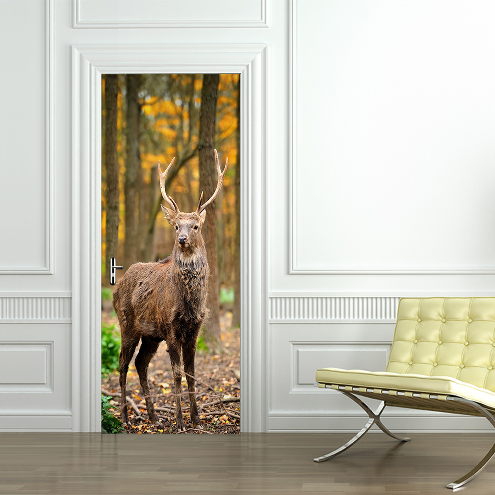 Decor DIY 3D Photo Door Stickers wallpapers PVC 3D Wall Painting Elk Creative Poster Door Mural Wallpaper Boys and Girls Bedroom stylish diy purple mangnolia and letters pattern wall stickers for home decor