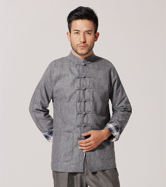 Gray New Traditional Chinese Men's Cotton Jacket Coat Long sleeve Clothing Size S M L XL XXL XXXL Ms002