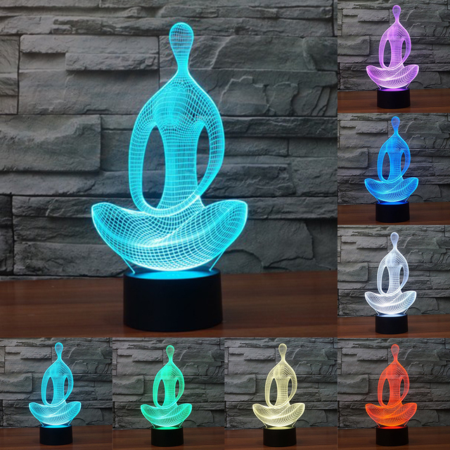 아크릴 7 컬러 명상 요가 3D LED 야간 조명 침실 램프 거실 조명 책상 테이블 장식 밤 빛 IY803367