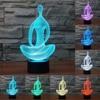 Acrylic 7 Color Changing 3D LED Nightlight Meditation Of Acrylic Bedroom Lamp Living Room Lights Decoration