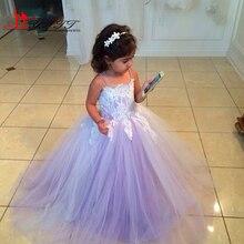 Princess Scoop Floor Length Purple Flower Girl Dress 2016 Spaghetti straps Girl Pageant Dress Appliques Wedding Party Dress