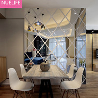 Large 3D Mirror diamond three dimensional wall stickers living room TV backdrop restaurant entrance decorative mirror stickers