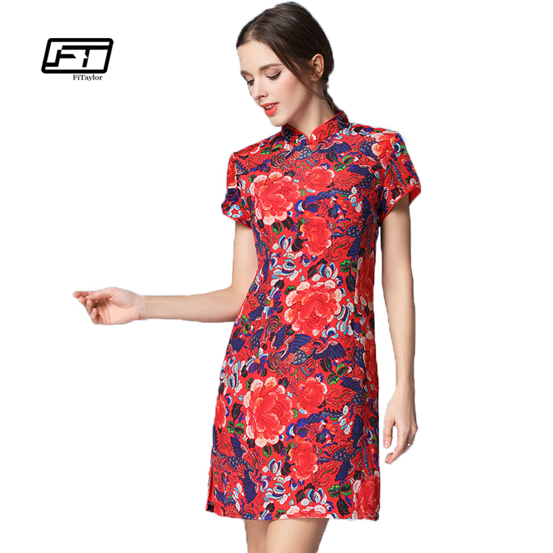 Fitaylor 2017 New High Quality Chinese Style Satin Mandarin Collar Red Flower Printing Grace Silk A-line Mini Dresses Woman