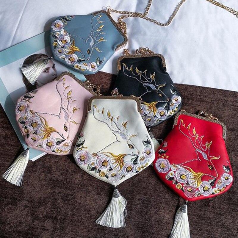 2018 женская сумка шелк лицо китайский стиль Ретро embroidered fringe Сумка вышитые стиль цепи сумки плечо сумка через плечо вечерние