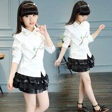 2016 new girls shirt autumn Korean children's clothing girls big virgin child long-sleeved white shirt flower USA Kids Size
