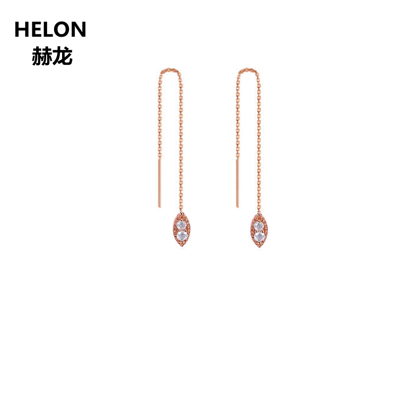 100% SI/H Full Cut Natural Diamonds Drop Earrings Solid 18k Rose Gold Engagement Wedding Chain Women Earrings solid 18k yellow gold 0 07ct si h full cut natural diamonds drop earrings for women engagement wedding fine jewelry chain