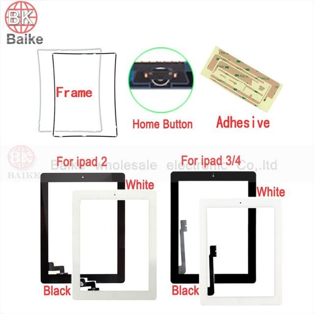 De alta qualidade para o ipad 4 tela sensível ao toque para apple ipad 2 ipad 3 digitador de vidro + botão home + 3 m fita + quadro