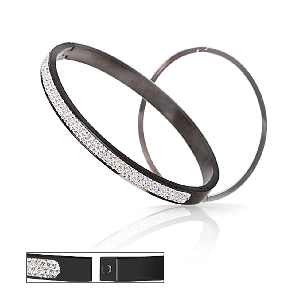 Wholesale Stainless Steel Bangles Jewelry With Good CZ Crystal Beads Bangle
