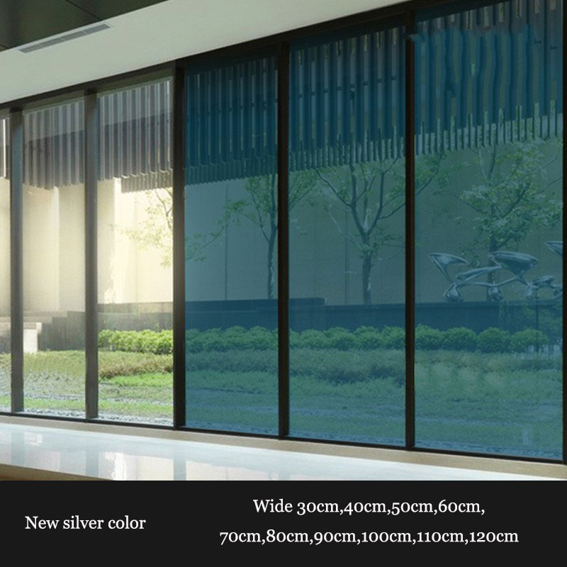 Custom size Silver Thermal Insulation Window Film Stickers Solar Reflective One Way Mirror film raamfolie statisch 90cmx11m-in Decorative Films from Home & Garden    1