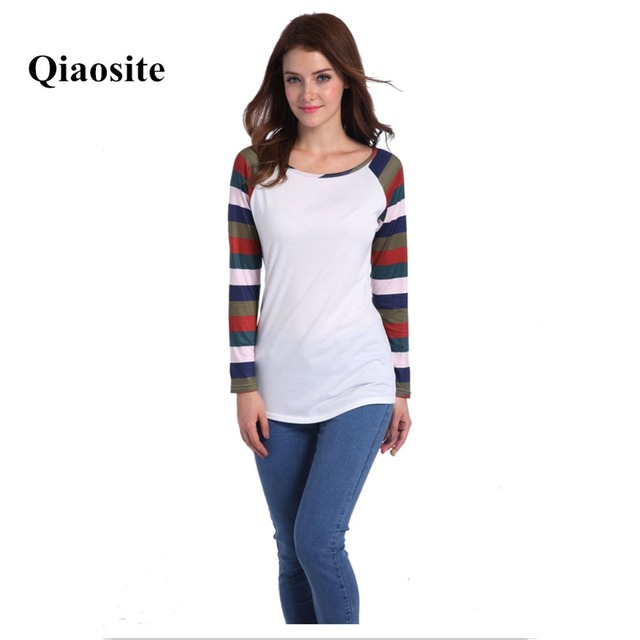 c4e8989d70 New Style Spring/Autumn Women T-Shirt Ladies Multi-color Striped Print Tops  Patchwork Long Sleeve Tees Fashion Female T-shirt