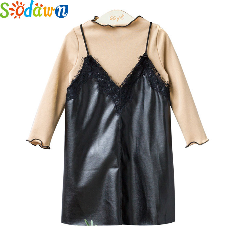 Sodawn Autumn Winter New Children Clothing Lace Water Wash Leather Dress+High-Necked Long-Sleeved Shirt 2Pcs Girls Clothes