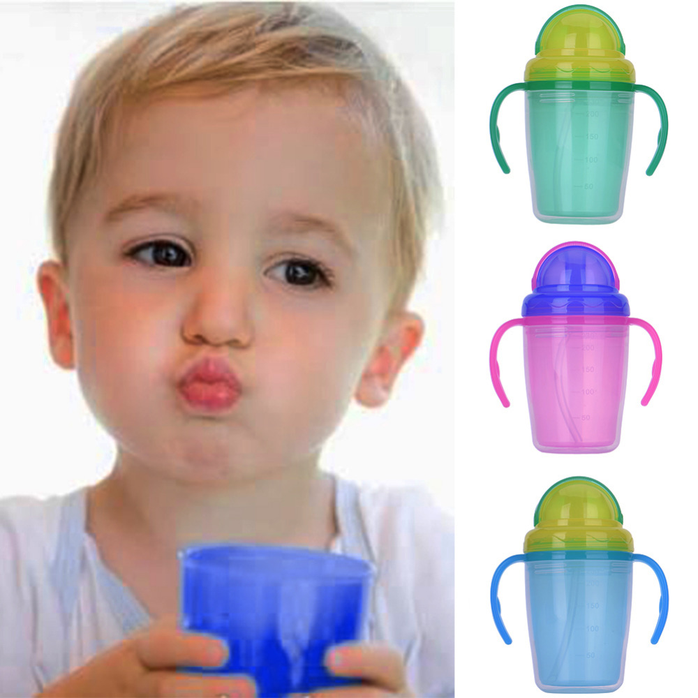 230ml Double Layer Baby Sippy Cup PP BPA Free with Straw Dual handle Todder Kids Learn Drinking Bottles Anti-hot Easy to Hold