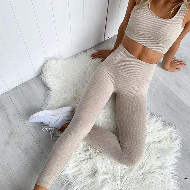 Women Two Piece Set Casual Seamless Tracksuits Cut Out Crop Top And Pencil Pants Sporty Active Wear Running Set Sports Clothing